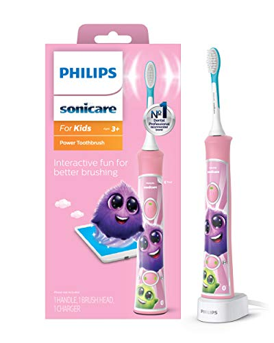 Philips Sonicare, for Kids Bluetooth Connected Rechargeable Electric Toothbrush, Pink, 1 Count