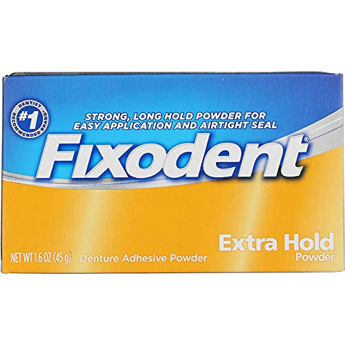 Fixodent Denture Adhesive Powder Extra Hold - 1.6 oz, Pack of 5