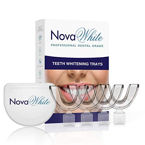 NovaWhite Teeth Whitening Trays - Moldable, Trimmable, Custom Fit, Comfortable, BPA FREE, Latex Free, Dental Grade Guard - (4) Mouth Trays, Hygienic Case – Easy to Mold, Mouth Tray for Tooth Whitening