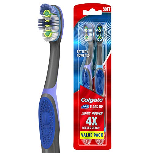 Colgate 360 Sonic Battery Power Electric Toothbrush with Floss-Tip Bristles and Tongue and Cheek Cleaner, Soft - 2 Count
