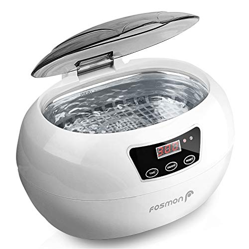 Fosmon Professional Ultrasonic Cleaner, Jewelry Polisher with Digital Timer (18 Preset Cycle, 600ML Stainless Steel Tank) for Eye Glasses, Watches, Earrings, Ring, Necklaces, Coins, Razors, Dentures
