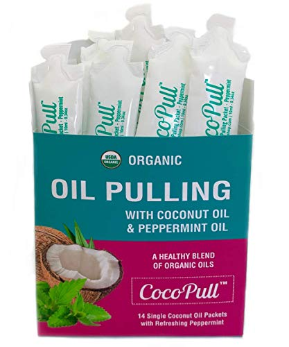 CocoPull - Organic Oil Pulling 14 Packets with Coconut Oil and Peppermint Oil for Healthy Teeth and Gums, Bad Breath Remedy. Natural Teeth Whitening.