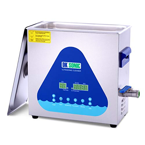 DK SONIC Ultrasonic Cleaner with Digital Timer and Basket for Denture, Coins, Small Metal Parts, Record, Circuit Board, Daily Necessaries, Lab Tools,etc (6L, 110V)