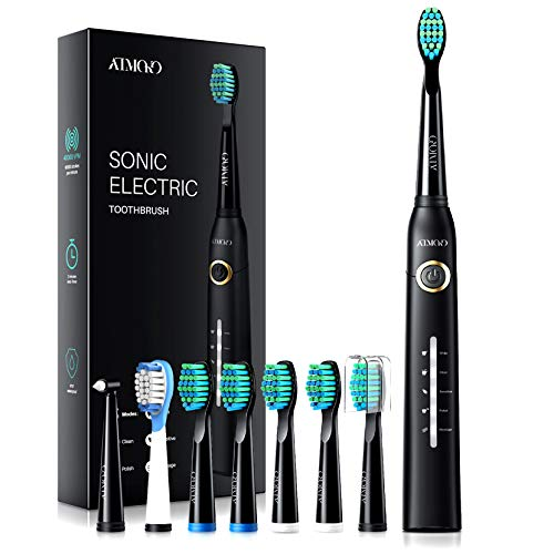 ATMOKO Electric Toothbrush with 8 Duponts Brush Heads, 5 Modes, 4 Hour Fast Charge for 30 Days Use, 40,000 VPM Motor, Power Whitening Rechargeble Sonic Toothbrushes for Adults & Kids HP126A