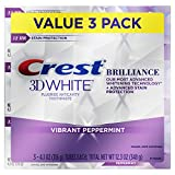 Crest 3D White Brilliance Vibrant Peppermint Teeth Whitening Toothpaste, 4.1 oz, Pack of 3 (Packaging May Vary)