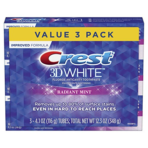 Crest 3D White Toothpaste Radiant Mint (3 Count of 4.1 oz Tubes), 12.3 oz (Packaging May Vary)