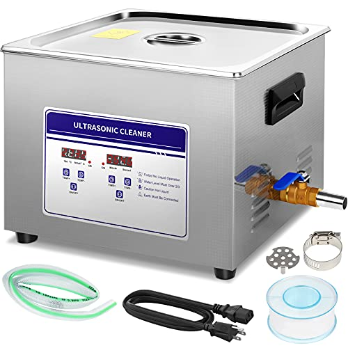 Professional 15L Ultrasonic Cleaner with Digital Timer&Heater,Ultrasound Cleaner Machine for Jewelry Glasses Dentures Circuit Board ,Commercial Lab Ultrasonic Carburetor Cleaner(110V)