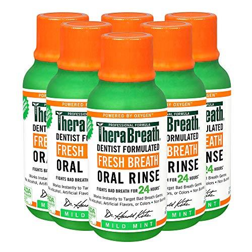 TheraBreath Fresh Breath Dentist Formulated 24Hour Oral Rinse, Mild Mint, 18 Fl Oz, (Pack of 6)