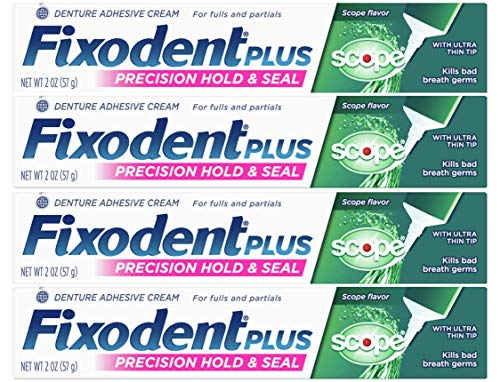 Fixodent Control Denture Adhesive Cream Plus Scope Flavor 2 oz (Pack of 4)